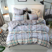 Plaid Home Textile Autumn multi-color Series Bed Linens 4pcs Bedding Sets Bed Set Duvet Cover Bed Sheet Mans Cover Set check plaid print duvet cover set