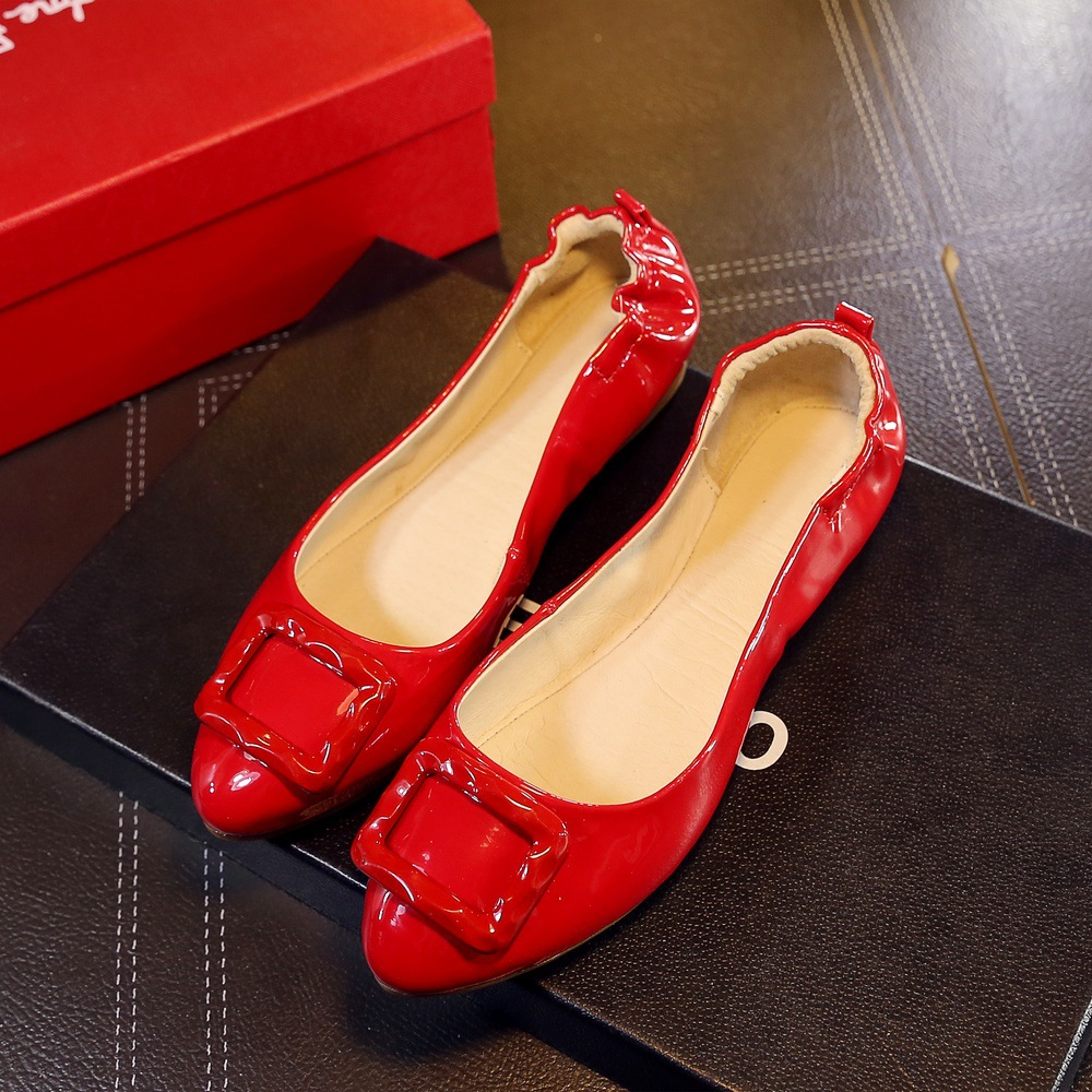ФОТО Rolls single shoes woman buckle flat red genuine leather style Brand women shoes soft outsole maternity dipper