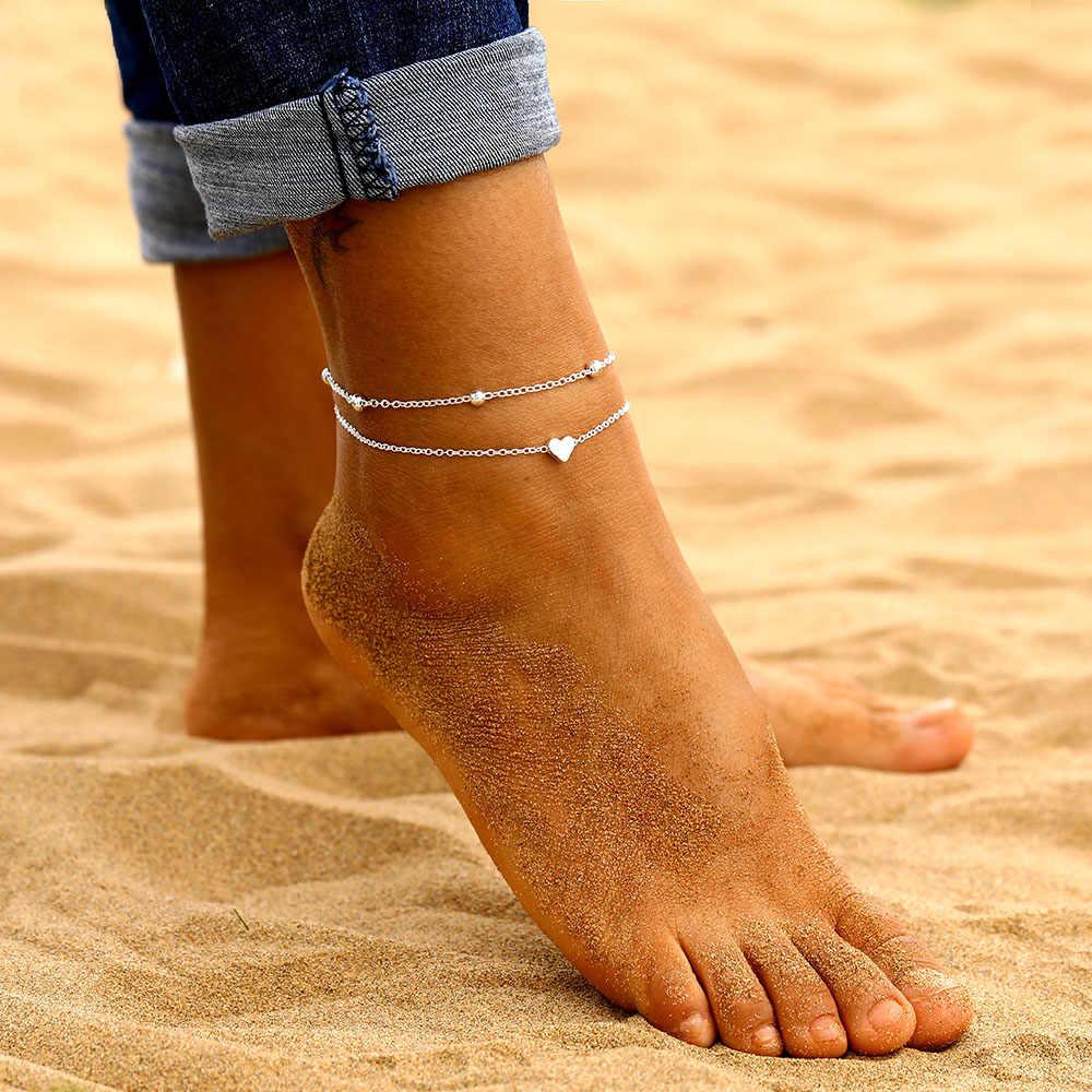 新スタイルシンプルなハートアンクレット素足かぎ針編みサンダルフットジュエリー脚新アンクレットに足足首女性のビーズチェーンアンクレット