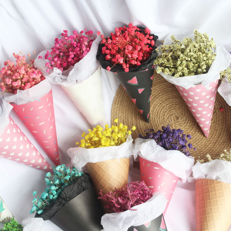 20Pcs Ice Cream Cone Mini Flower Wrapping Paper Gift Packaging Bouquet Wedding Decoration Florist Supplies