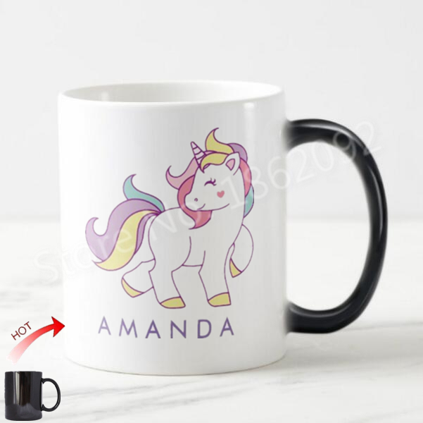 Custom Unicorn Magic Mug Personalised Unicorn Morph Mugs Heat Sensitive Color Changing Kids Coffee Cup Ceramic Magical Mugs Gift Superior Performance Home & Garden