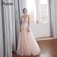 Luxury Evening Dresses 2018 V Neck Crystal Beaded Top Prom Dress 2019 Blush Tulle Evening Gown Long Vestido de Fiesta Largo RE23