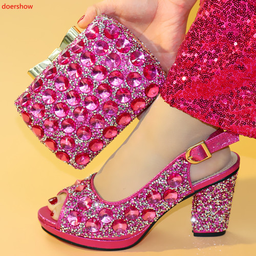 doershow Italian Shoes and Bags To Match Shoes with Bag Set Decorated with Rhinestone Nigerian Women Wedding!HXX1-33doershow Italian Shoes and Bags To Match Shoes with Bag Set Decorated with Rhinestone Nigerian Women Wedding!HXX1-33
