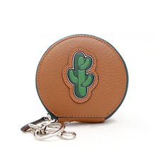 Cactus Printing Round Circle Coin Purses Mini Leather Wallet font b Women b font Sexy Red