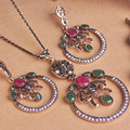 2016 recién llegado turco sistemas de la joyería redonda roja grande collar antiguo pendiente del oro plateado pendientes Vintage acrílico verde Brincos