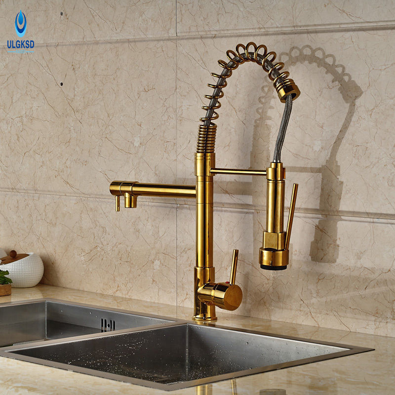 Ulgksd Luxury Golden Kitchen Faucet Habdheld Sprayer Two Spout Kitchen Sink Faucet Hot and Cold Water