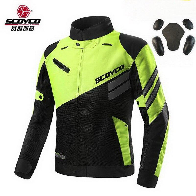 2018 Summer New SCOYCO Mens Coat Jacket Mesh Motorcycle Riding Suit Jackets Knight Crash Proof Motorbike Reflector +5pc Protect