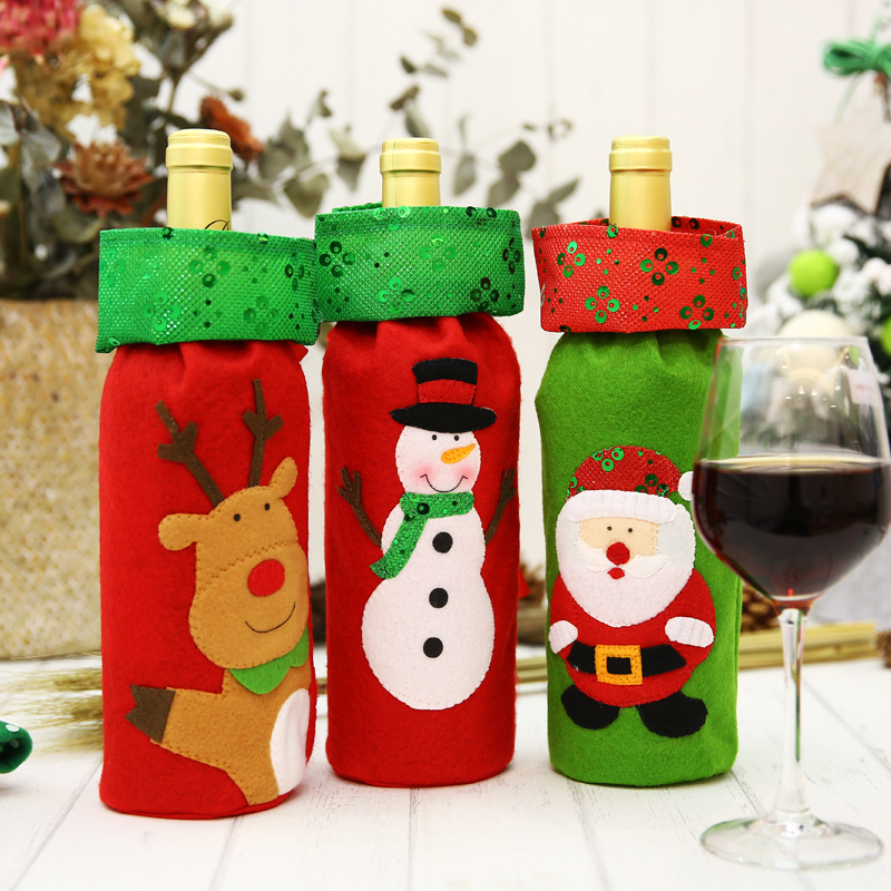 Christmas Decorations Glitter Embroidery Bottle Bag