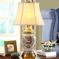 High Quality Retro American European Handmade Ceramic Fabric Led E27 Table Lamp For Living Room Bedroom Wedding Deco H 68cm 1069