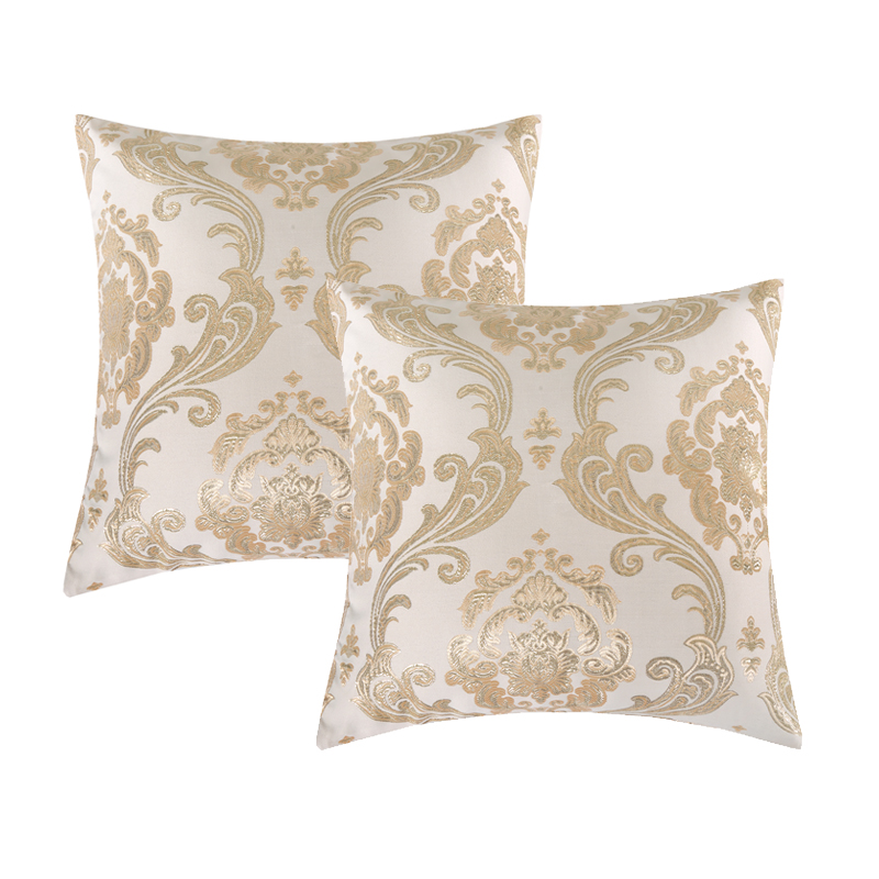 Decorative Pillows for sofa Luxury Gold Jacquard Pillowcase Cushion Cover Home Decor Wholesale 2 Pack for 18 x 18 Inch