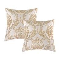 Almofadas decorativas para o sofá de Luxo Ouro Jacquard Fronha Capa de Almofada Home Decor Atacado 2 Pacote para 18x18 Polegadas