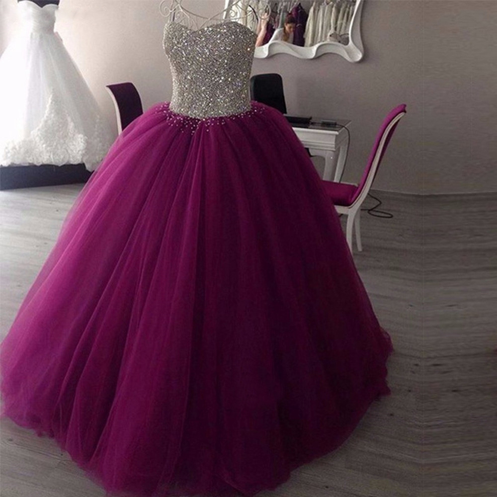 yiwumensa Hot Sale Ball Gown Sleeveless Puffy Prom dress 2018 Bling Bling Silver Lace Up Purple