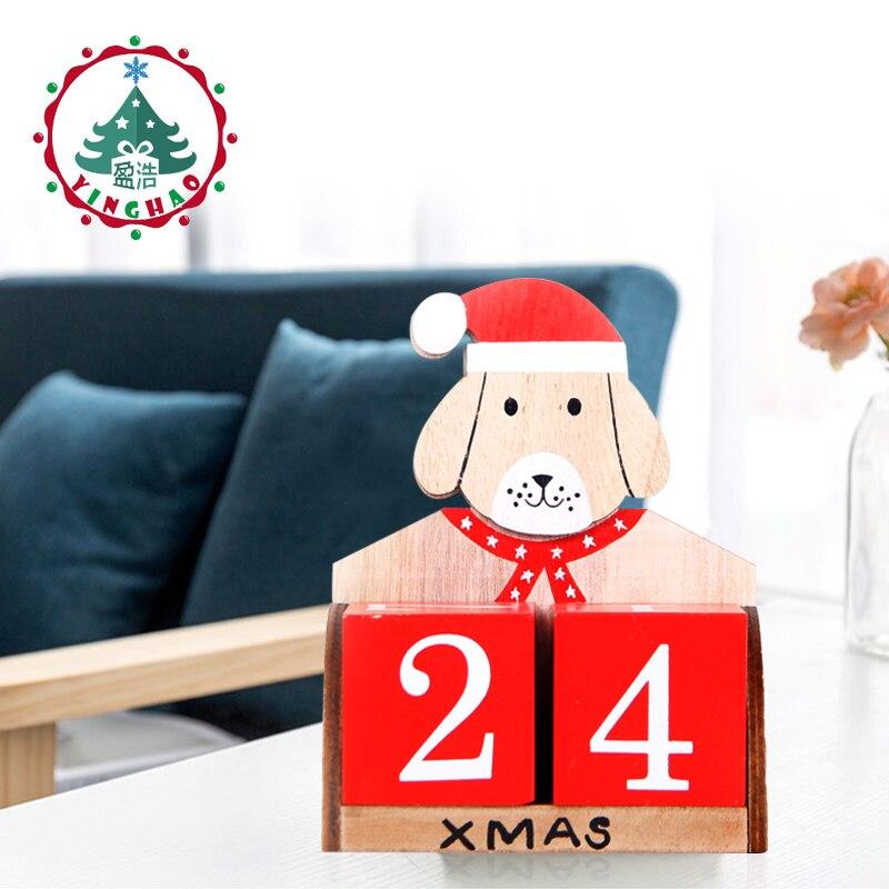 Feliz Navidad decoraciones calendario Santa madera calendario Calendario de Adviento cuenta atrás 2019New año perro Christma regalos artesanías