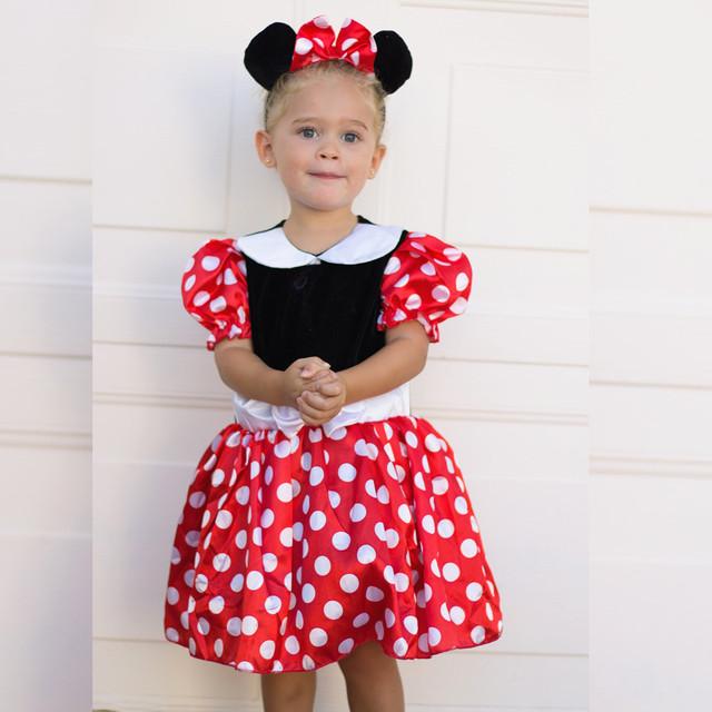 Venda quente Minnie meninas Vestidos de Impressão vestidos de Cosplay Traje de Halloween Roupas de Festa mickey Vestidos de TUTU com headwear