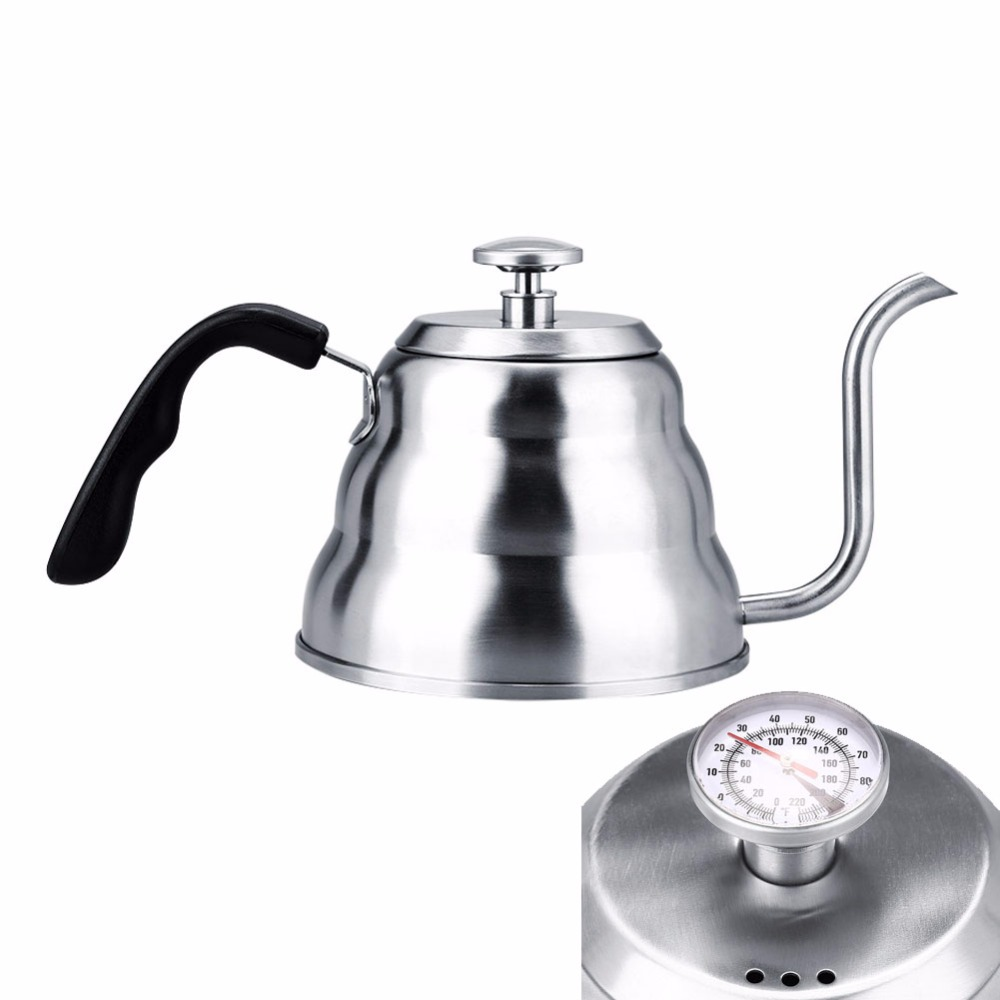 1/1.2L Gooseneck Drip Kettle Coffee Tea Pot Stainless Steel Drip Kettle With Creative Thermometer Suit For Induction Cooker kettle