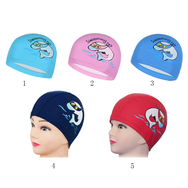 Cute Cartoon Kids Dolphin Animal Children Swimming Cap Waterproof Protect Ears Long Hair Boys Girls Swim Pool Caps Hat Newest 5
