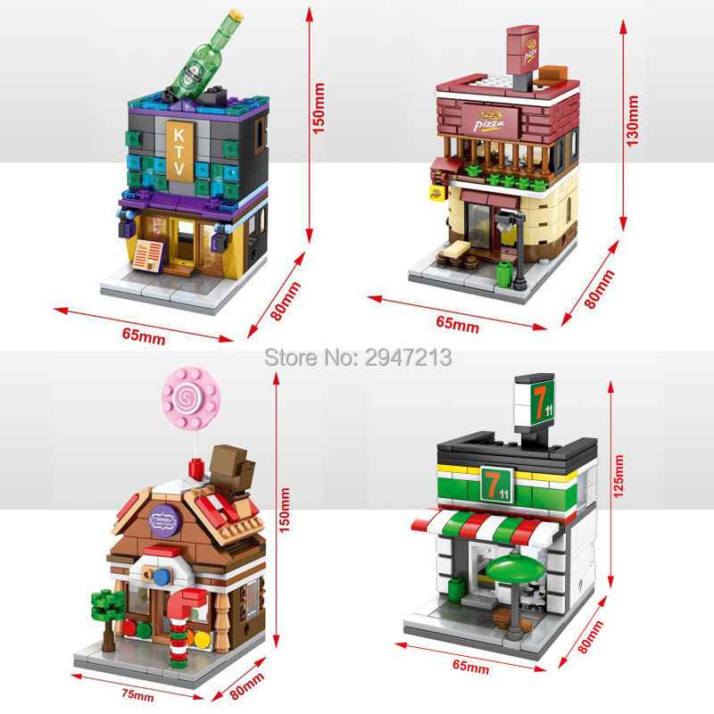 hot sembo block compatible lepin city mini Street View Building blocks Ktv Pizza hut Candy house Convenience Store toys gift