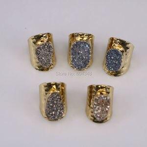 Image 5 - 5 יחידות הטבעי קוורץ רן טבעות סטון, תכשיטי טבעת אבן בנד טיטניום צבע זהב רחב