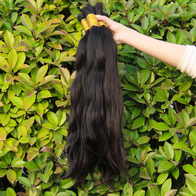 1KG YWD hair products malaysian virgin hair straight human hair bulk for braiding good quality wholesale 12-34inch natural color