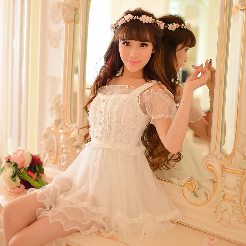Princess sweet lolita dress Candy rain Japanese style new summer sweet Tall waist lace white princess