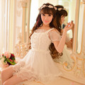 Princess sweet lolita dress Candy rain Japanese style new summer sweet Tall waist lace white princess dress C15AB5707