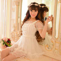 Princess sweet lolita dress Candy rain Japanese style new summer sweet Tall waist lace white princess dress C15AB5707