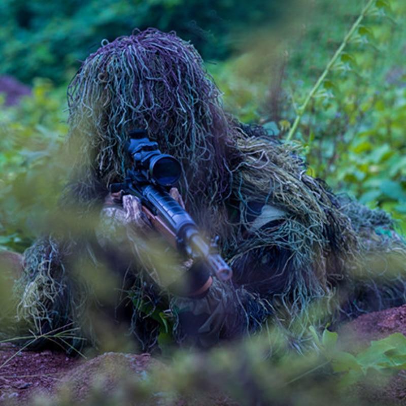 3D Universal Camouflage Costumes Woodland Vêtements Réglable Taille Ghillie Costume pour La Chasse Armée Militaire Tactique Sniper Set Kits