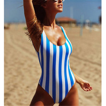 2018 New Women's Swimming Suit One Piece Ladies Red/Black/Blue Stripe Swimwear Hot Sale Swimsuit Monokini Push Up Bikini Bathing