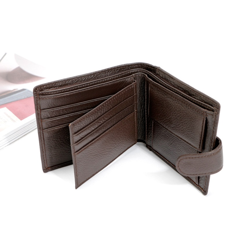 New Slim Genuine Leather Mens Wallet Man Cowhide Cover Coin Purse Small Brand Male Credit id Multifunctional Walets in Wallets from Luggage Bags