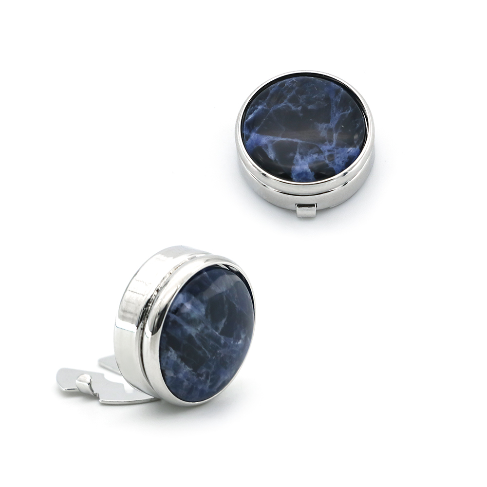 IGame Factory Supply Elegant Natural Blue Vein Stone Buttons Cover For Mens' Shirt High Quality Cuff Links Free Shipping