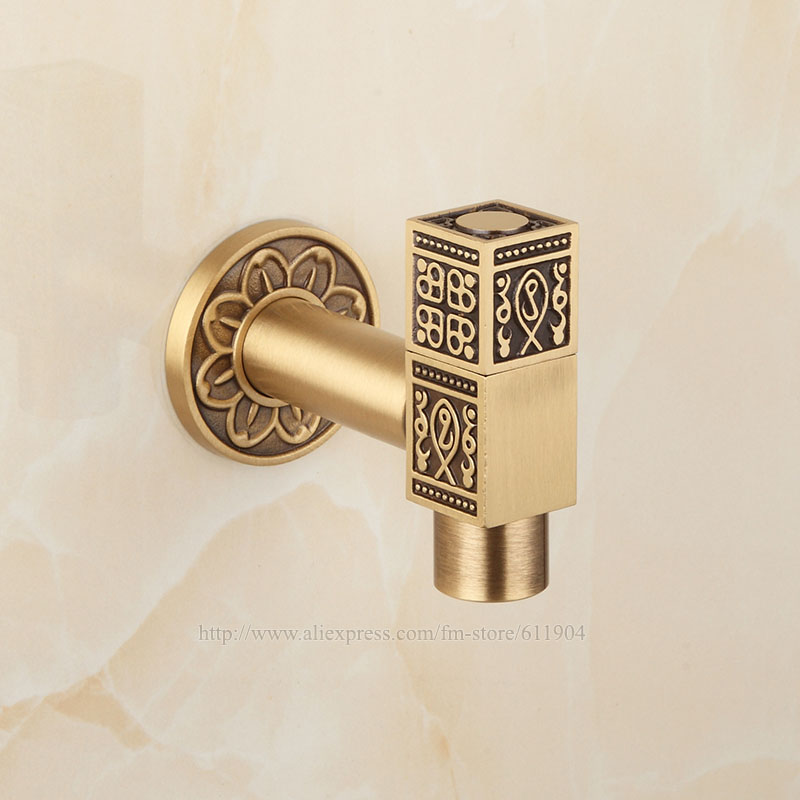 Antique Brass Artistic Bathroom Wall Mount Sink Basin Cold Water Faucet Tap Vintage Flower Carved 2610080
