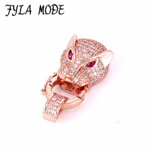 Fashion Micro Pave Zircon Pink Eye Leopard Head Connector Fastener For Pearls Bracelet Necklace Clasps Jewelry Findings CHF558