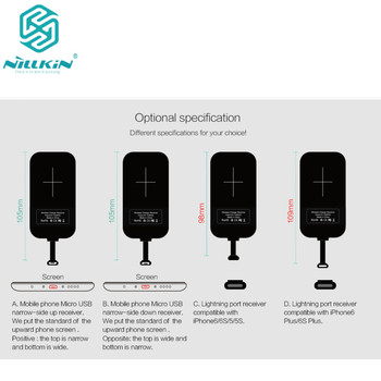 Original Nillkin Magic tags wireless charging receiver for Samsung A8/iPhone 6/6S/5/5S/Huawei Mate 8 etc with retail package