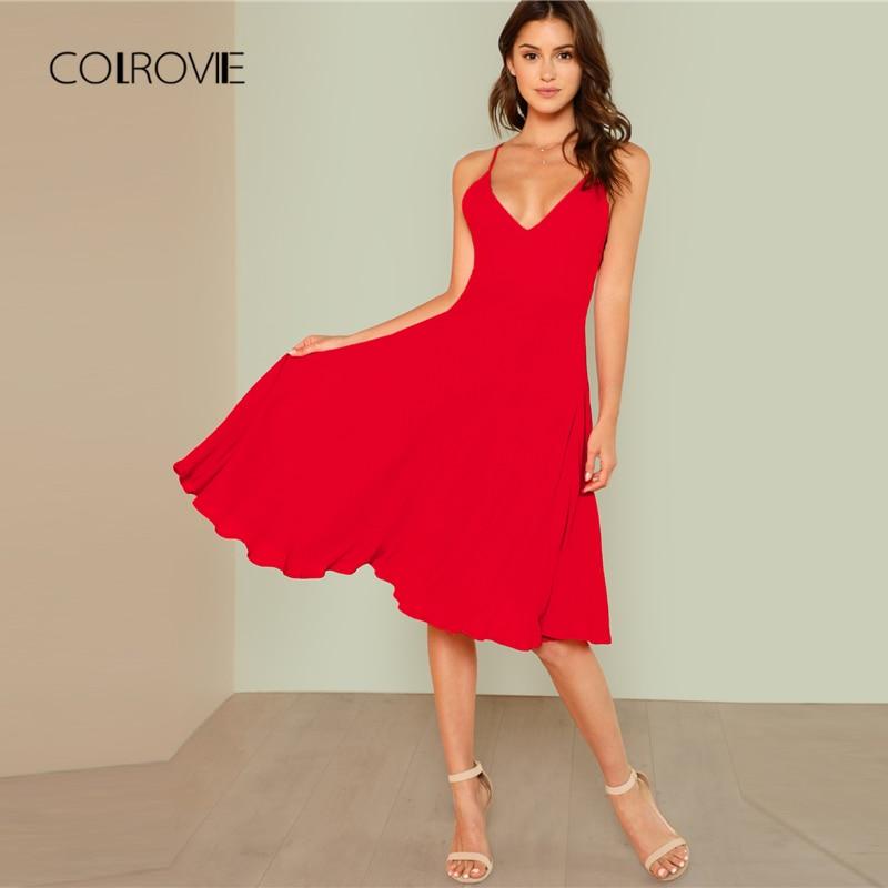 COLROVIE Red Solid Swing Dip Hem Backless Beach Dress 2018 New V Neck Spaghetti Strap Women Dress Knee Length Summer Dress