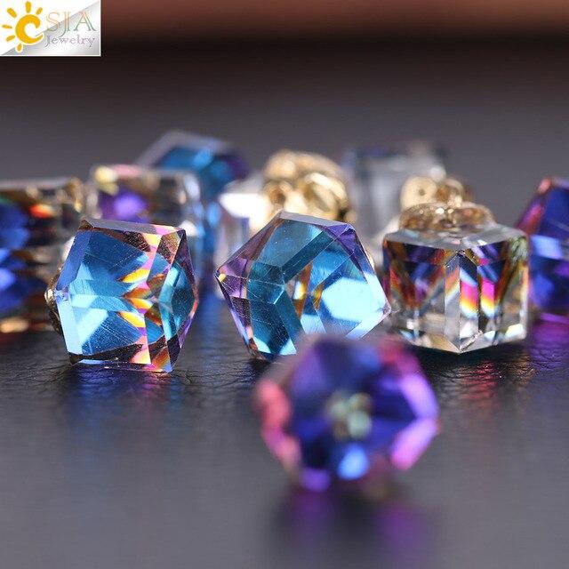 Csja кубические стеклянные бусины для изготовления ювелирных