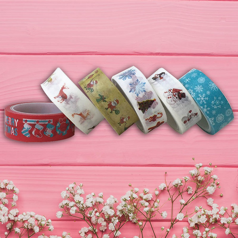 1PC Decorative Christmas Washi Tape Set Rice Paper DIY Scrapbooking Adhesive Tape 1.5cm*5m Masking Tape School Office Supply