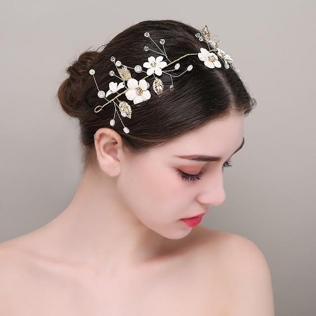 4da198bc771 Handmade Crystal Flower Gold Color Rhinestone Brides Headband Wedding Prom Bridal  Hair Accessories Tiaras Jewelry Girl