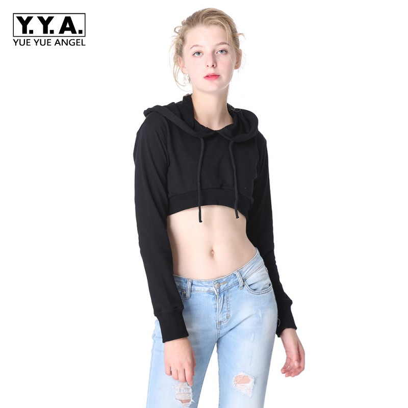 Harajuku Women Cropped Hoodie Kpop Sexy Cotton Sweatshirts Long Sleeve Slim Fit Female Top Short Style Breathable Comfort Cloth