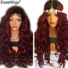 hot deal buy eseewigs full lace wig 180% density remy human hair with baby hair body wave high density 1b 99j ombre color wig for black women