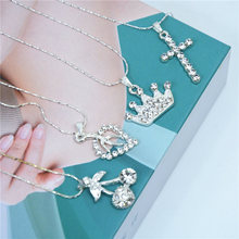ZCHLGR NEW Silver Plated Small Heart Crown leaf Necklaces Bijoux For Women Collars Fashion Jewelry Collarbone Pendant Necklace