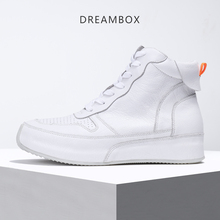 High-top shoes men leather thick bottom sports casual board Korean version trend joker white fashion