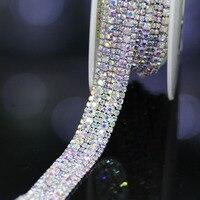1 yard Top-Grade Kryształ AB Szkło Szeroki Pucharu Rhinestone Łańcuch Srebrny Podstawa Wykończenia Aplikacja Szyć na Dżetów Dla odzieży