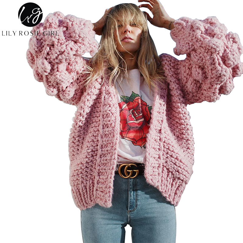 Lily Rosie Girl Hand Knitted Cardigans Women Sweater 2017 Autumn Winter Thick Warm Jumper Lantern Long Sleeve V Neck Outwear Top lily rosie girl pink knitted sexy split women sweater dresses long sleeve mini bodycon dress 2017 autumn winter party vestidos