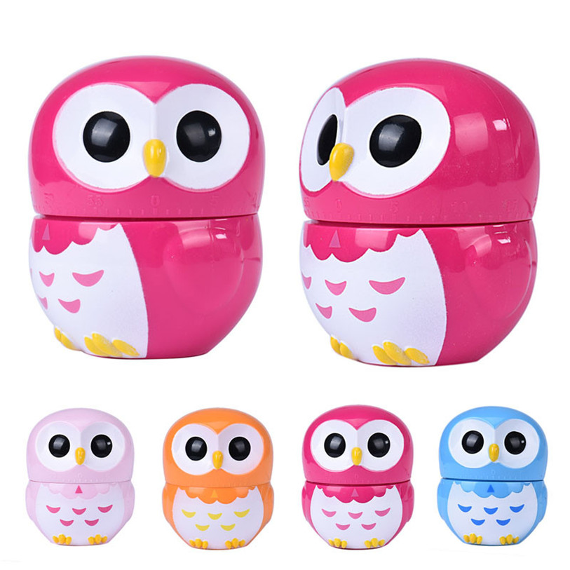 Creative Owl Design Mechanical Kitchen Dial Timer 60 Min Game Count-down Up Clock Alarm Reminder Cooking Tools Wholesale 30JE15