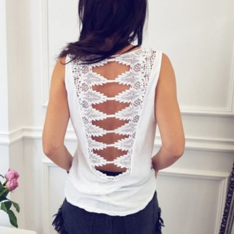 Summer Sexy Tank Top Women Fashion Hollow Out Lace Backless O-Neck Beach Boho Vest Casual Ladies Clubwear Vacation Black Tops