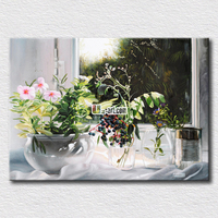 Tiny white flower oil painting on canvas fair picture on the girl's bedroom for wall decoration