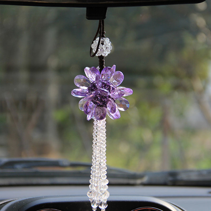 12 Styles Crystal Glass Hanging Crafts Car Rearview <font><b>Mirror</b></font> Ornaments Handmade DIY Home Decor Figurines Car Interior Accessories