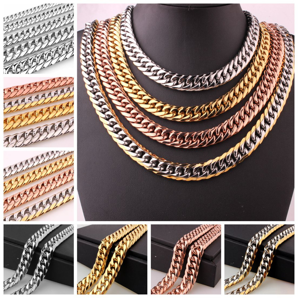9/11/13/16/19/21MM 316L Stainless Steel Silver/Gold/Rose Gold Curb Cuban Chain Mens Womens Necklace/Bracelet Jewelry 8-40inch