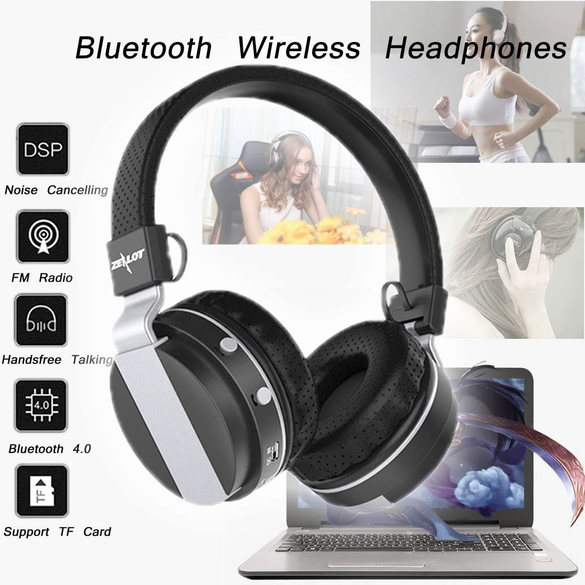 Zealot B17 Noise Cancelling Foldable Wireless bluetooth Stereo Bass Headphone with Tf Card Slot Portable Audio For Xbox