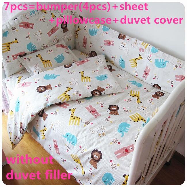 2017! 6/7PCS Baby Crib Cot Bedding Set Bumper Sheet Dust Ruffle Baby Duvet ,120*60/120*70cm ruffle trim sheet set